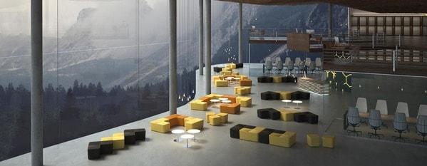 Escritório open-space com cadeiras e sofás modulares luxy