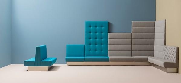Vários modelos de sofás modulares Pedrali