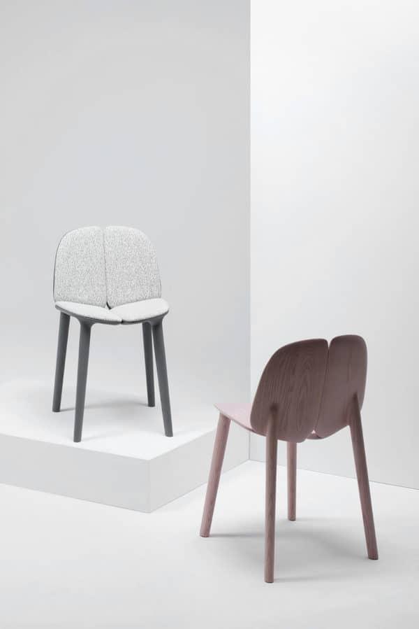 Cadeiras de madeira da coleção Osso, da marca italiana