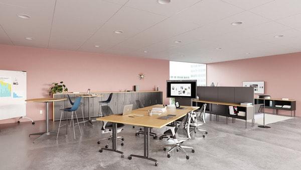 Sala de reuniões com sistema de videoconferência CBS