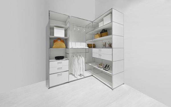O closet aberto Dauphin Home é uma solução feita à medida