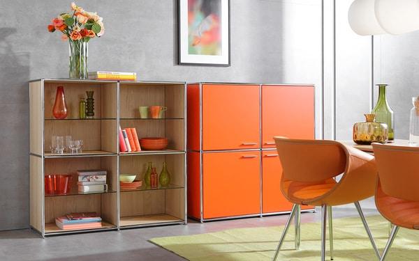 Os aparedores modulares da Dauphin Home podem adquirir várias formas e estão disponíveis em várias cores