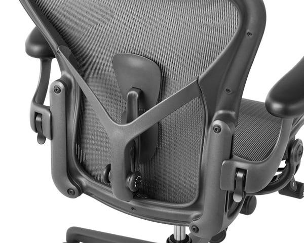 Detalhes ergonómicos das cadeiras Aeron, da Herman Miller