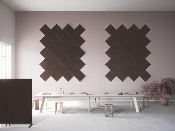 Painéis acústicos decorativos em módulos