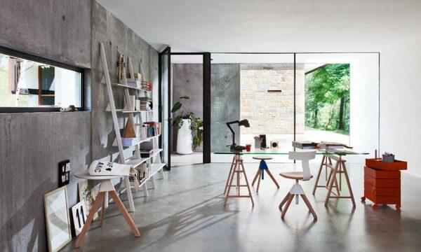 Escritório com decoração de casa de design italiano Magis