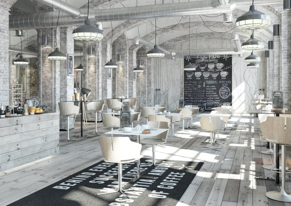 Mesas luxy num espaço de restauração