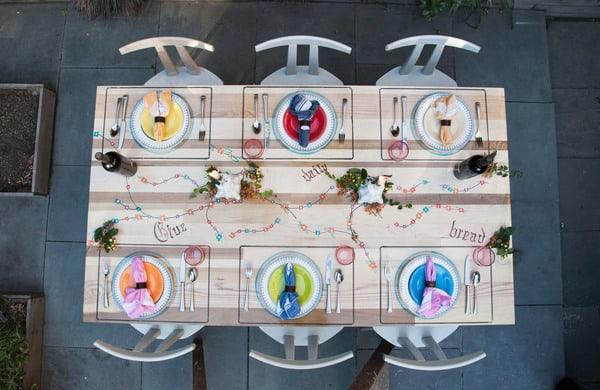 Mesa de madeira pintada com tintas decorativas Create Clear
